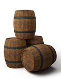 Four old wooden barrels  on white Royalty Free Stock Image