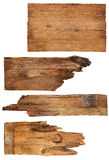 Four old wooden boards isolated on a white background. Old Wood plank Stock Photo