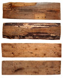 Four old wooden boards isolated on a white Royalty Free Stock Photography