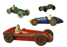 Four olds cars. Four old miniatures collector car Royalty Free Stock Image