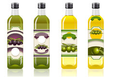 Four olive oil bottles Stock Image