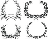 Four One Color Original Heraldic  Wreath Royalty Free Stock Photo