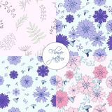 Four in one cute flower elements patterns stock illustration