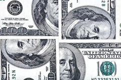 Four one hundred dollar bills. Stock Photography