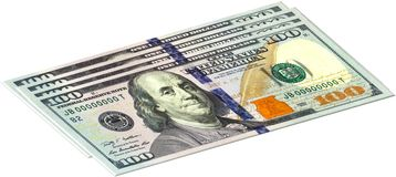 Four one hundred dollars banknotes. Are stacked Royalty Free Stock Photos