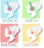 Four options with headphones Royalty Free Stock Photos