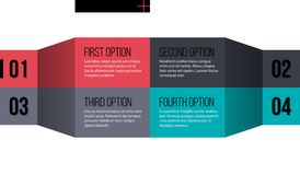 Four options horizontal template in flat origami style. EPS10 vector. Four options horizontal template in flat origami style on white isolated background Stock Image