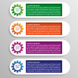 Four options of infographics with colorful gears Stock Images