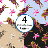 Four options seamless pattern with crabs and starfish. Vector illustration royalty free illustration
