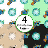 Four options seamless pattern with tropical fish. And fish ball. Vector illustration royalty free illustration
