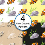 Four Options Seamless Pattern With Tropical Fish. Four options  seamless pattern with tropical fish stones and seaweed at the bottom of the sea. Vector Stock Images