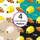 Four options seamless pattern with tropical  fish. Vector  illustration Royalty Free Stock Image