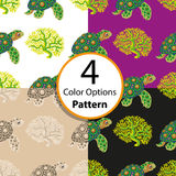 Four options seamless pattern with tropical turtle and coral. Vector illustration stock illustration