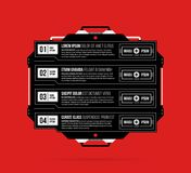 Four options template with hi-tech elements in black and red techno style. On flat vibrant background Stock Images