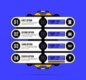 Four options template with hi-tech elements in geometric industrial/techno style. On deep blue background Stock Images