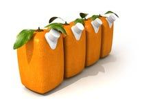 Four orange juices. 3D rendering of four Cubic oranges with a juice dispenser Stock Images