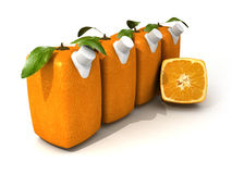Four orange juices and a half. 3D rendering of four Cubic oranges with a juice dispenser Stock Photos