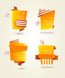 Four orange paper circles with place for your own text. Royalty Free Stock Photos