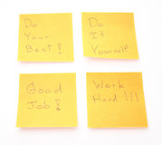 Four orange post it Royalty Free Stock Image