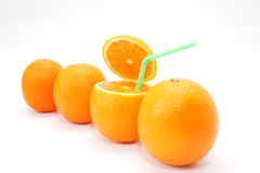 Four oranges on white Stock Photos