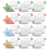 Four origami paper numbered banners Stock Photos