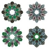 Four ornament round floral pattern Stock Images