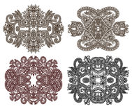 Four ornamental floral adornment Stock Image