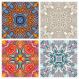Four ornamental floral seamless texture collection Royalty Free Stock Photos