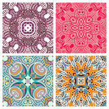 Four ornamental floral seamless texture collection Royalty Free Stock Photo