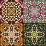 Four ornamental floral seamless texture collection Royalty Free Stock Photography