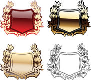 Four Ornate Red  Heraldry Shields Stock Photo