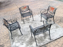 Four Outdoor Generic Public chairs. Or benches Royalty Free Stock Photos