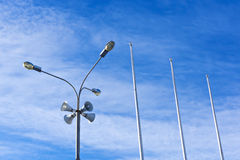 Four outdoor megaphones on one street light Royalty Free Stock Photo