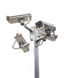 Four outside security cameras. Stock Photos