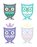 Four Owls. Set of four adorable owls Royalty Free Stock Image