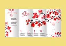 Four pages brochure with cherry blossom or sakura tree. Painted by watercolor. Corporate identity flyer design with logo Stock Image