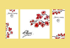 Four pages brochure with cherry blossom or sakura tree. Painted by watercolor. Corporate identity flyer design with logo Royalty Free Stock Photos