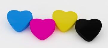 Four Paint cmyk Heart Stock Photos