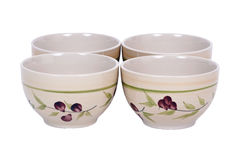 Four painted bowls Stock Image
