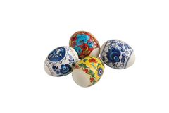 Four painted easter eggs Stock Image