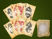 Four Pairs - Kings and Queens. Ornamental antique four pairs - kings and queens - playing cards Stock Photography