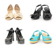 Four pairs of lady shoes Royalty Free Stock Images