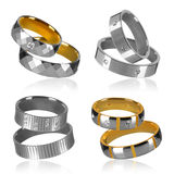 Four pairs of rings Royalty Free Stock Images