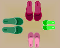 Four pairs of shoes Stock Photos