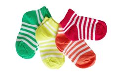 Four pairs of striped baby socks Stock Images