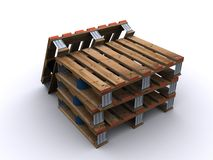 Four pallets. Four wooden pallets on white background Stock Photo