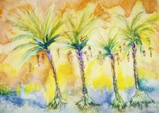 Four palm trees with dates.
