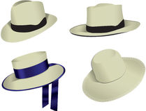 Set of panama hats Royalty Free Stock Photos