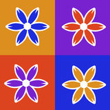 Four Panel Colorful Flower Illustration Stock Image