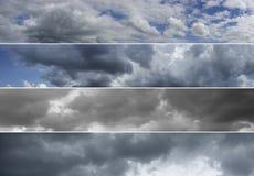 Four panoramas of cloudy sky over horizon. Stock Image